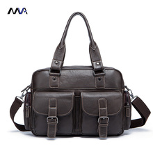 MVA Men Genuine Leather Shoulder Bags Larger Capacity Men Briefcase Casual Totes Handbags Leather Laptop Bag Crossbody Bags