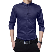 BROWON Mens Shirts Casual Slim Fit Shirt Long Sleeve Stand C