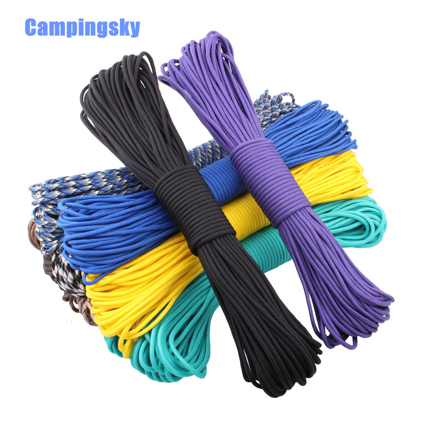 CAMPINGSKY 550 Paracord Parachute Cord Lanyard Tent Rope Mil Spec Type III 7 Strand 100FT Paracord For Hiking Camping 200 Colors iqiuhike multifunction parachute 550 popular type iii 7 strand paracord cord lanyard mil spec core 100ft camping survival tool