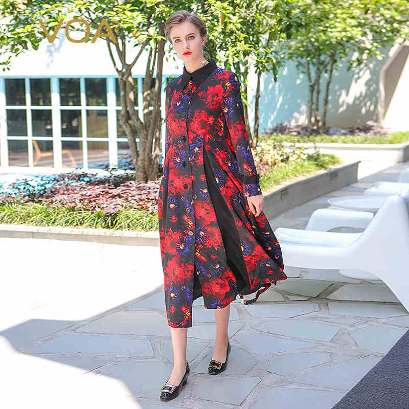 VOA 2018 Spring Vintage Chinese Style Silk Plus Size High Waist Slim Trench Boho Red Print Women Maxi Long Tunic Coat S7307