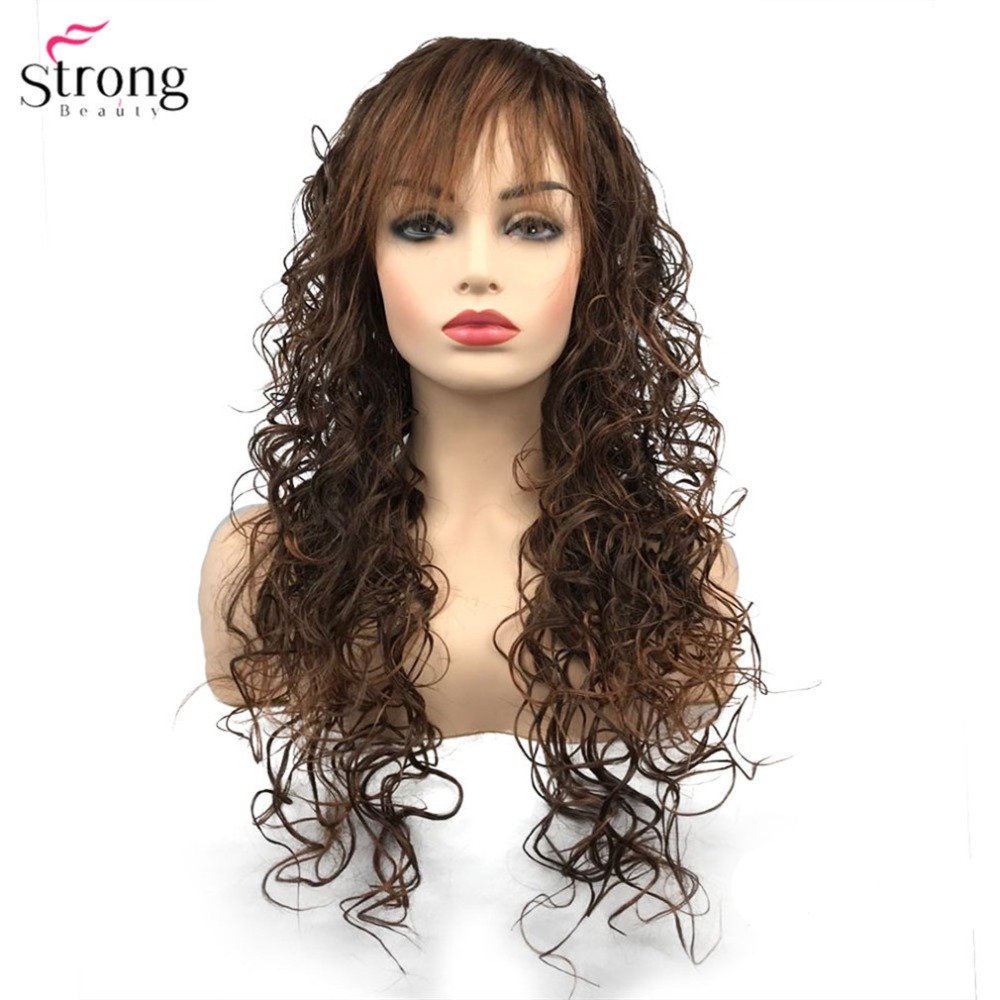 StrongBeauty Womens Synthetic Wigs Black/Bark Brown Long Curly Wig Capless Hair ...