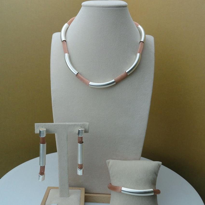 Yuminglai Italian Design Dubai Costume Jewelry Sets Necklace Earrings Bracelet Rose Rope with Silver FHK6148