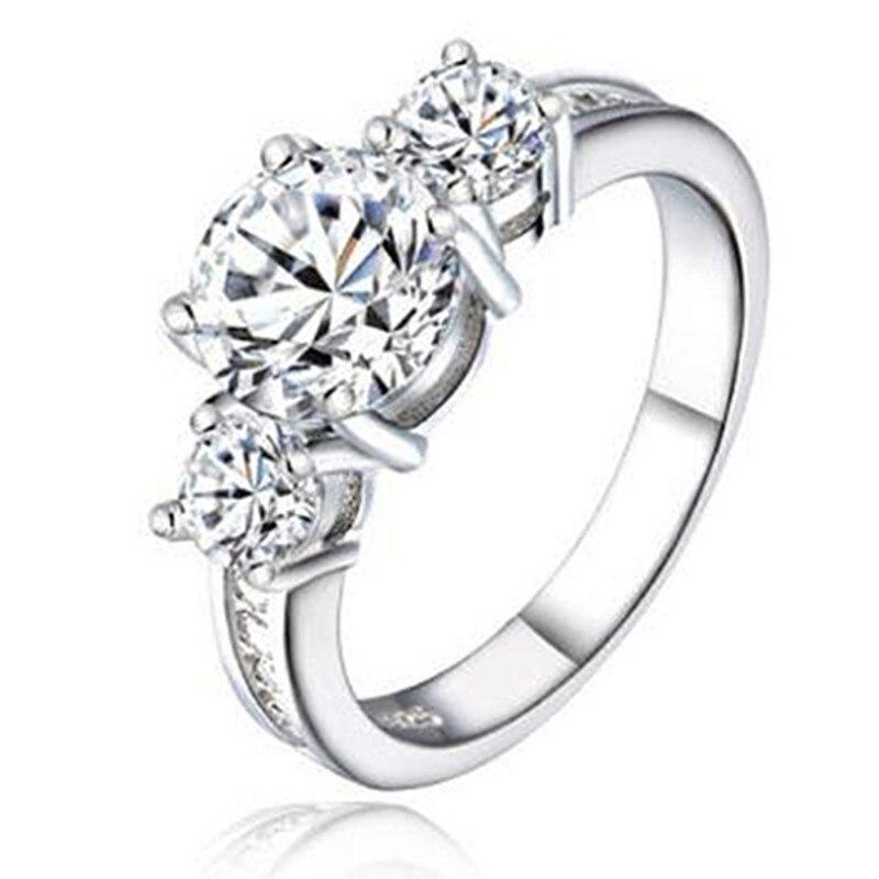 solid tre sten 925 sterling silver förlovningsringar mode stil 3 - Märkessmycken - Foto 6