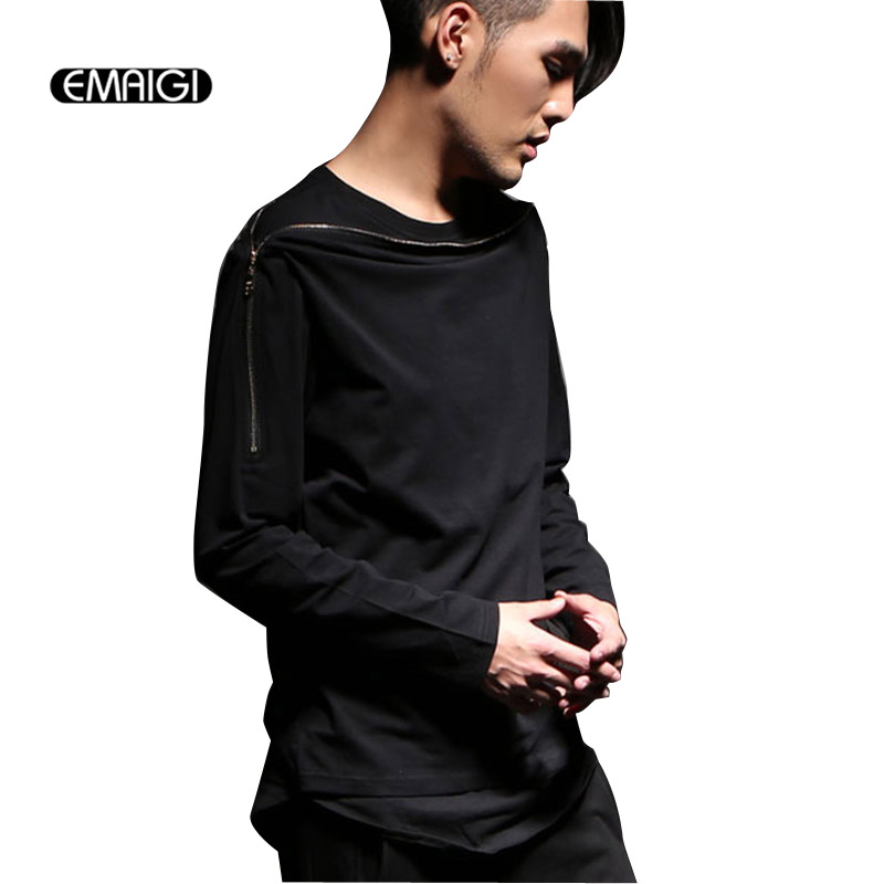 Male T shirt mens collar zipper long sleeve tees shirts fake two T shirt punk rock