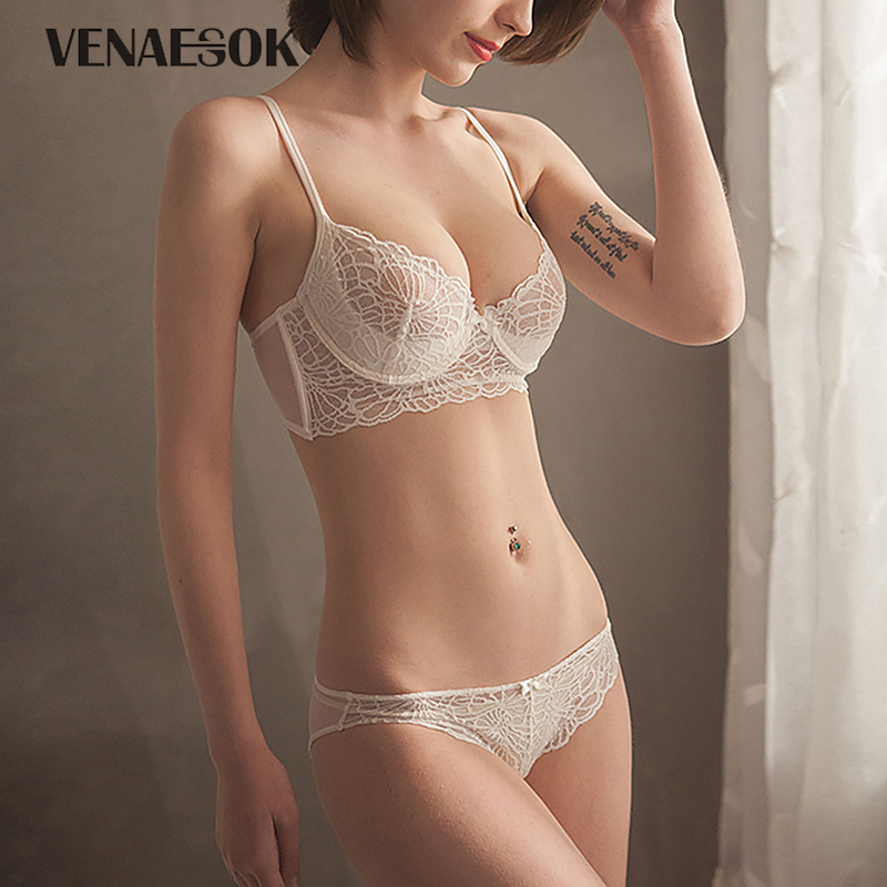 White Women Lingerie Set Ultrathin Brassiere Transparent Bra Set Sexy Underwear Purple See Bra Panties Sets Lace Black
