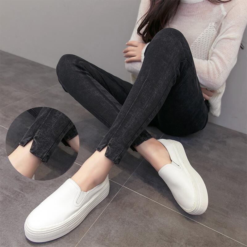 2018 Spring Autumn Casual Skinny   Jeans   Woman Elastic High Waist Denim Pants Plus Size Ankle Length Pencil Pants