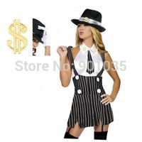 FREE SHIPPING S 2XL 254 Roaring 20s Pin Stripe Sexy 1920s Gangster Girl Chicago Mob Charleston Costume
