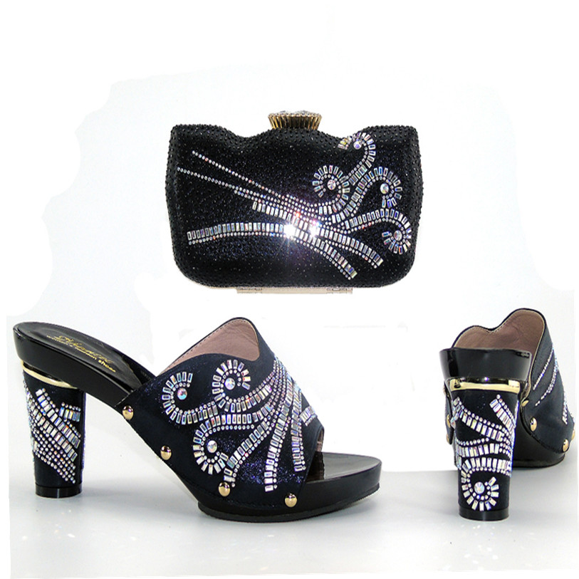 2017 African Wedding Party Lady Nice Shoes Bag Black Shoes And Bag Matching Lace Dress BCSB0013 ...