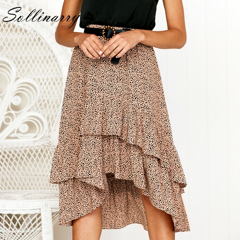 Sollinarry High Waist Stylish Flounce Beach Ruffle Casual Skirt 2019 Feminino Boho Summer Skirts Elegant Polka Dot Midi Skirts