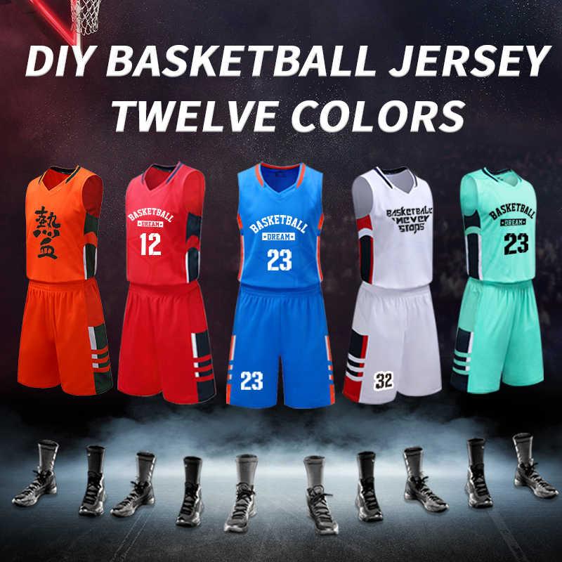 Mężczyźni uniwersyteckie koszulki koszykarskie profesjonalna koszulka koszykarska z powrotem niestandardowe męskie stroje do koszykówki zestawy Quick Dry Sportswear