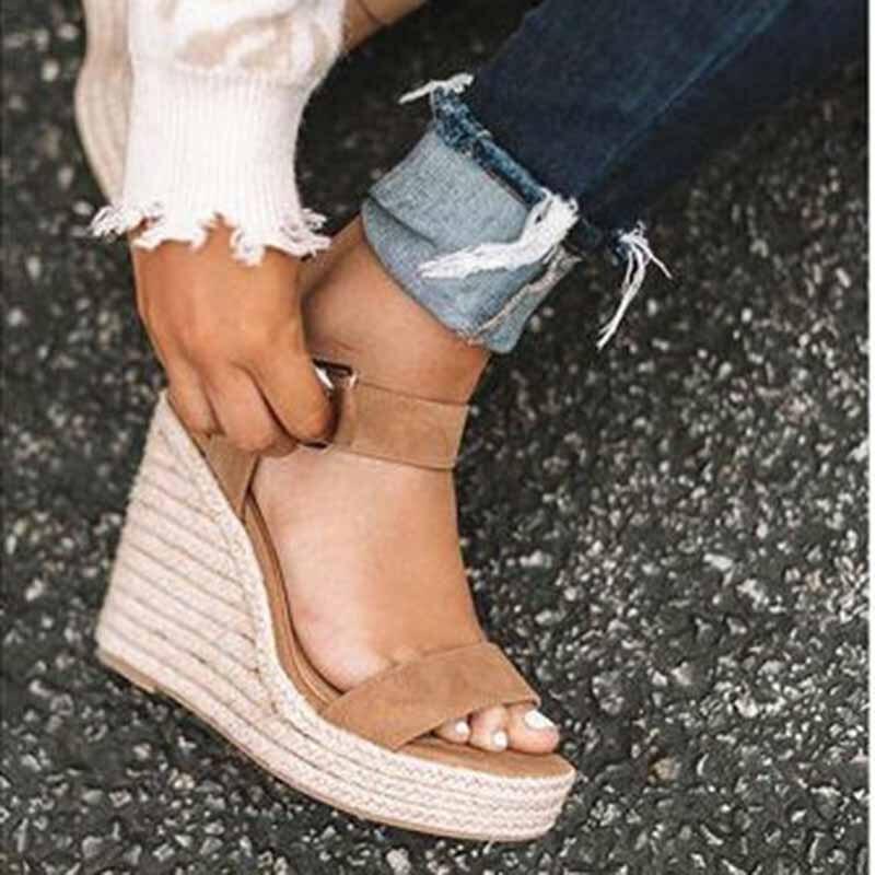 HTB1ID5tX.GF3KVjSZFvq6z nXXaT Women Shoes Platform Sandals Women Peep Toe High Wedges Heel Ankle Buckles Sandalia Espadrilles Female Sandals Shoes