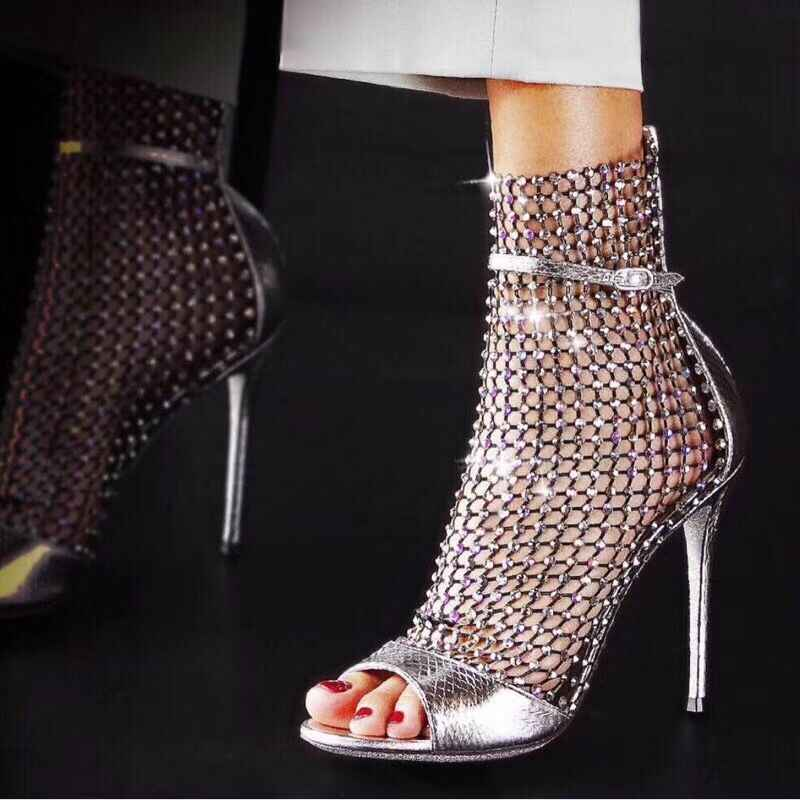 94d6c6bc0403 ... Hot 2019 New Spring Mesh Lace Crystal Women Boots High Heels Gladiator  Sandals Women Summer Ankle ...