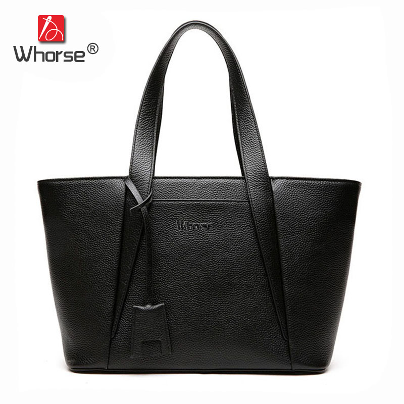 цена [WHORSE] Brand Women Shoulder Bag Luxury Genuine Leather Large Casual Tote Handbag Shopping Bags Black Gray W09120