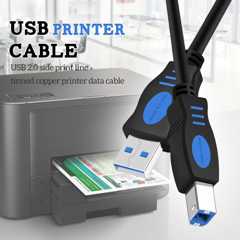 VOXLINK 5Pack 2.0 USB Print Cable Type A To B Male To Male Printer Cable For Canon Epson HP Zjiang Label Printer DAC USB Printer