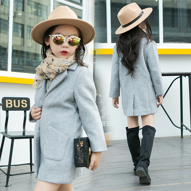 The New 2016 Han Edition Children's Coat Girl Autumn Outfit Children Pure Color Coat Of Children's Wear