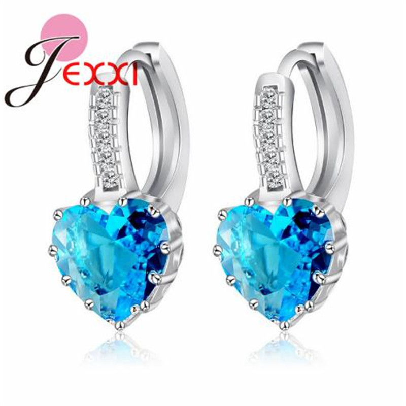 Giemi Cubic Zirconia Stone Earrings Fashion Women Favourites Luxury Colorful Heart Band Real Pure 925 Sterling Silver Jewelry