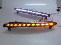 July king led światła do jazdy dziennej led drl, LED Lampy Przeciwmgielne z Żółtymi Kierunkowskazy case dla AUDI Q7 2005 ~ 2007 1:1 wymiana