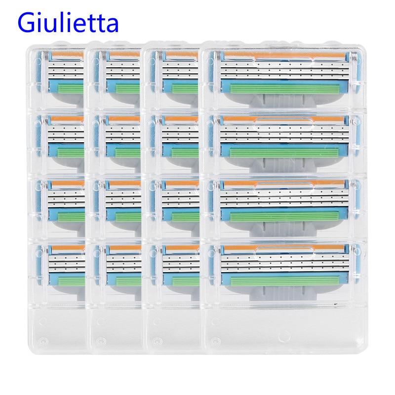 Giulietta 3 Layer Blade Razor Blades For Men Face Care Shaving Razor Blade Compatible Gillettee Mach 3 (16pcs/Box)