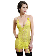 RL80044 hot sale new arrival Lace Garter chemise V neck see through sexy sleepwear three color