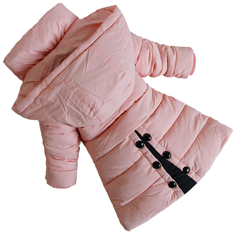 ФОТО 2017 Fashion Winter Kids Outwear Children Clothing Cotton-padded Girls Winter Jackets And Coats Hoodded Thick Warm Girls Parka