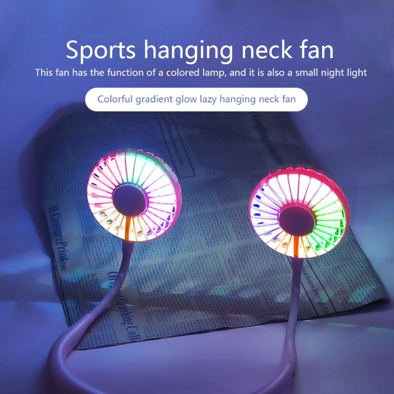 Hand Free Mini Portable Fan Battery With Colorful Lights Two Fans Hanging Around The Neck For Sport 7