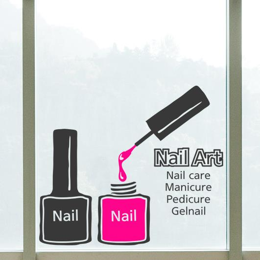 Nail Polish Vinyl Wall Sticker Bar Manicure Art Sign Decal Beauty Salon