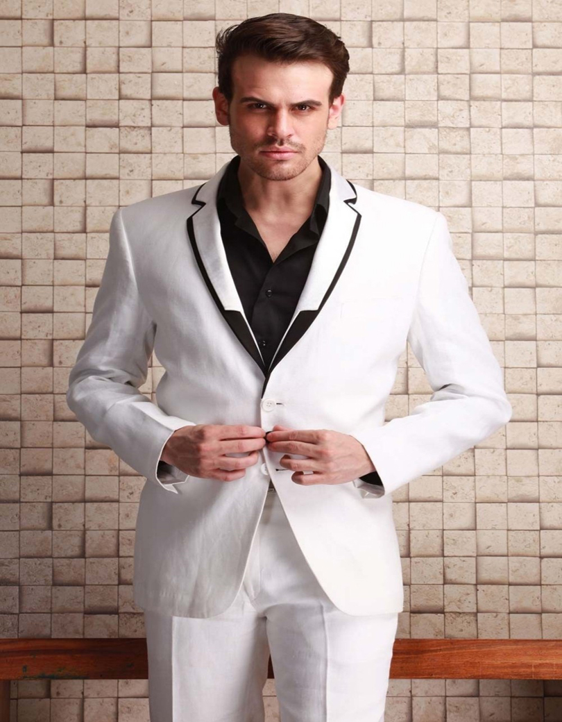 Hot Sale Actual Pictures Ball Gown Fashion White Groom Tuxedo Slim Man Notched Lapel Suit Best Formal Suit (jacket+ Pants)
