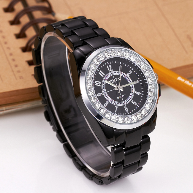 Lover's Watch Fashion Women Rhinestone Stainless Steel Watches Imitation Ceramic Dress Watch Casual Quartz Wristwatch Relojes