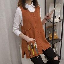 И осенняя свободная Корейская версия жилета с v-образным вырезом на плечах, шерстяной жилет без рукавов, вязаный свитер, куртка, весеннее платье
