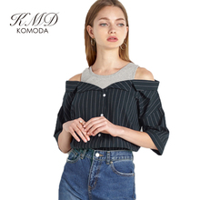 KMD KOMODA Striped Off Shoulder Shirt Blouse Women Cute Elegant Top Blouses Female Vintage Casual Basic Top Ladies