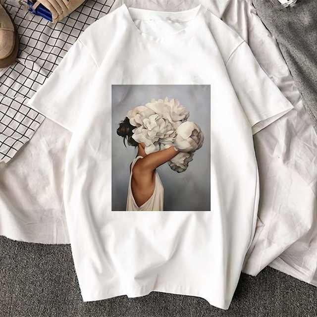 FIXSYS 새로운 패션 그래픽 프린트 티셔츠 귀여운 플러스 사이즈 탑스 하라주쿠 캐주얼 여성 셔츠 여름 반팔 하라주쿠 티셔츠