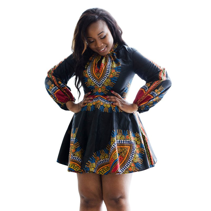 2017 Hot Women African Print Black Dress Long Sleeve Autumn Winter Dashiki Dresses For Women Clothing V2 H2