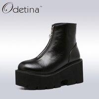 Odetina Spring Women Wedges Platform Boots 2017 Fashion Front Zipper Black Ankle Boots For Women High