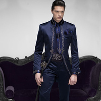 2018 latest coat pant designs blue man suit for evening party stage prom vintage stand collar satin classic jacket long tailcaot