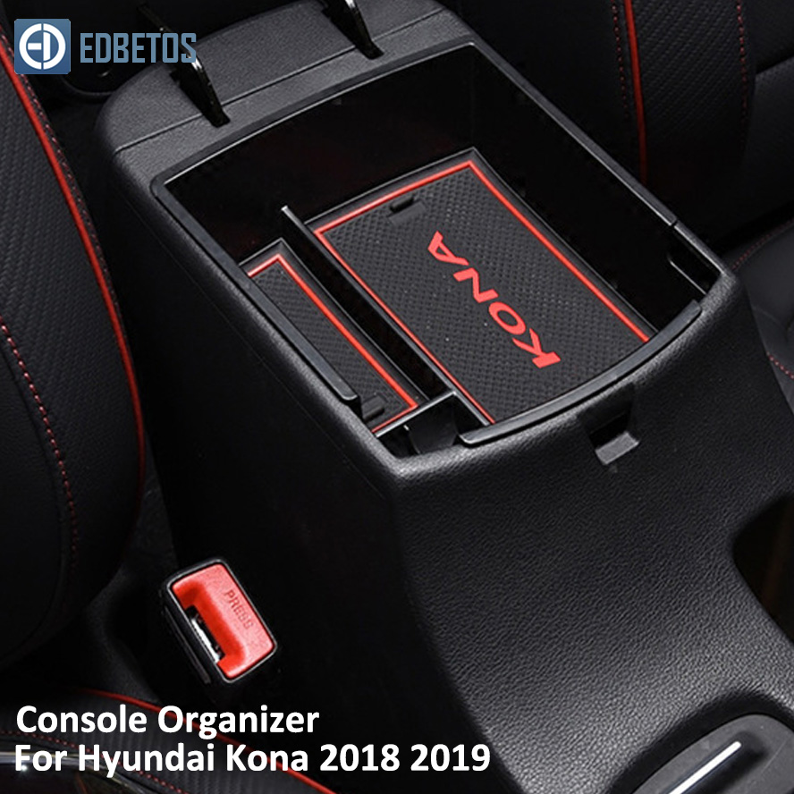 EDBETOS Kona Armrest Storage Box For Hyundai Kona Encino 2018 2019 Kona Center Console Container Bin Tray