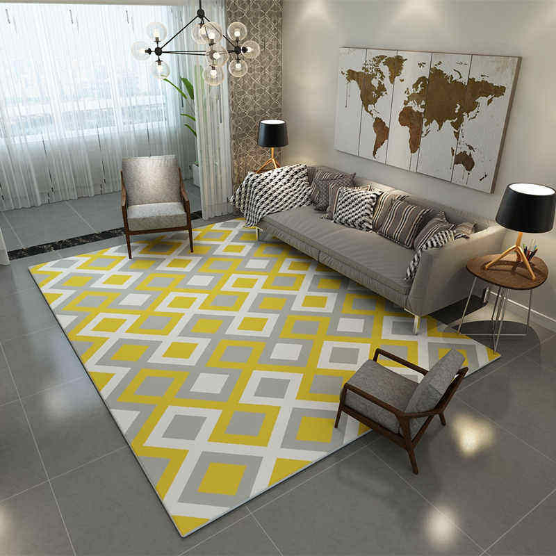 Europe Large Area Carpets Rugs Living Room Carpet Washable Suede Mats  Geometric Rectangle Carpet For Modern