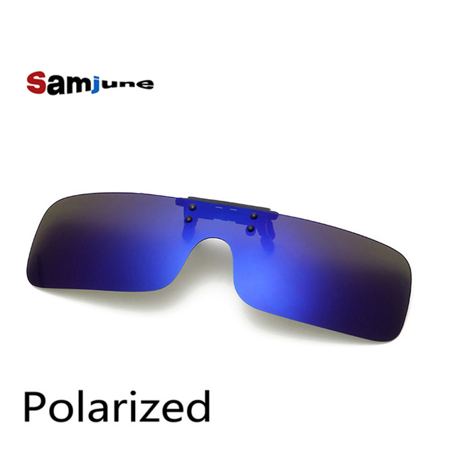 0c954728a66 Polarized Clip on Sunglasses clip on glasses square Polaroid Lens Men Women  mirror Sun Glasses Night