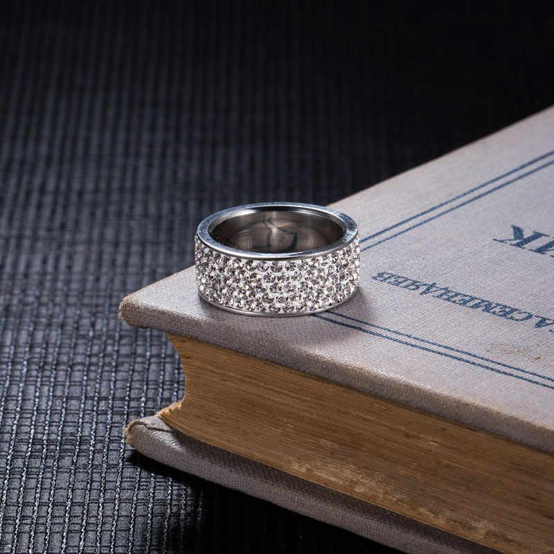 ZORCVENS 2019 新ブランドシルバーカラーのステンレス鋼 5 行 CZ 石のファッションの女性のための婚約結婚指輪 accesorios mujer
