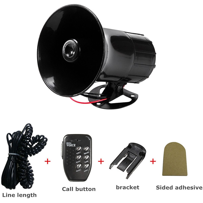 Universal Car Warning Alarm New Car Horn Police Fire Siren Horn PA Loud Speaker MIC System 6 Sound Tone  Car Kit Car Styling