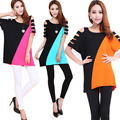 Summer new arrival 2016 mm plus size medium-long basic shirt shoulder batwing sleeve t-shirt color block decoration short-sleeve