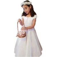 White Satin Flower Girls Dresses A Line Short Sleeve Scoop Beaded Wais Charming First Communion Dresses vestido daminha SF58