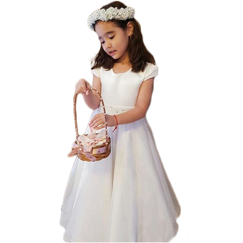 White Satin   Flower     Girls     Dresses   A-Line Short Sleeve Scoop Beaded Wais Charming First Communion   Dresses   vestido daminha SF58