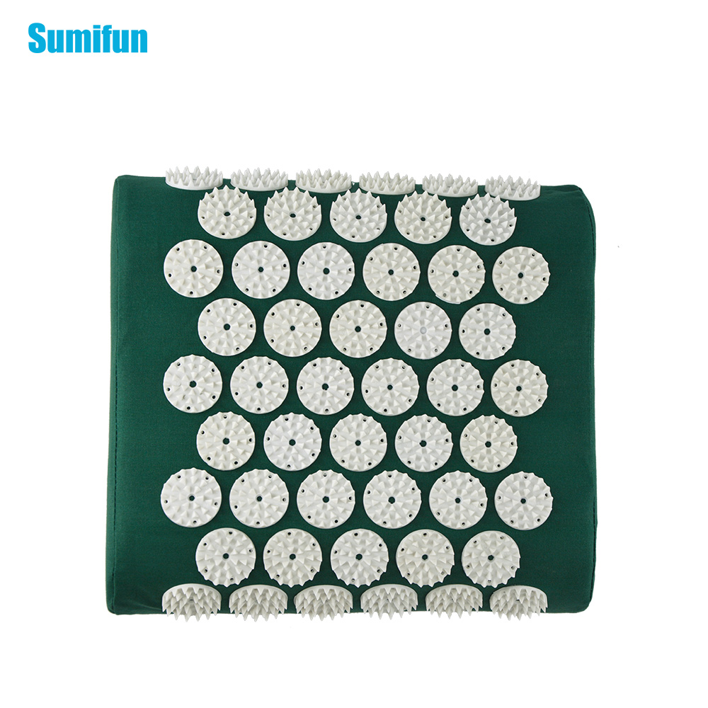 Square Acupuncture Spiky Massage Pillow Relieve Stress Pain Fatigue for Head Back Foot Massage Yoga Pillow Dark Green C11366