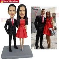 OOAK пользовательские bobblehead куколки статуэтки для свадьбы пара кексов персонализированные bobble голова влюбленных мини куклы Статуэтка скуль