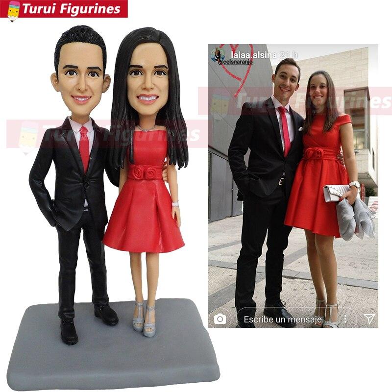 Ooak personalizado bobblehead estatuetas bonecas para casamento casal bolo tpper casamento personalizado amantes mini bonecas estátua escultura
