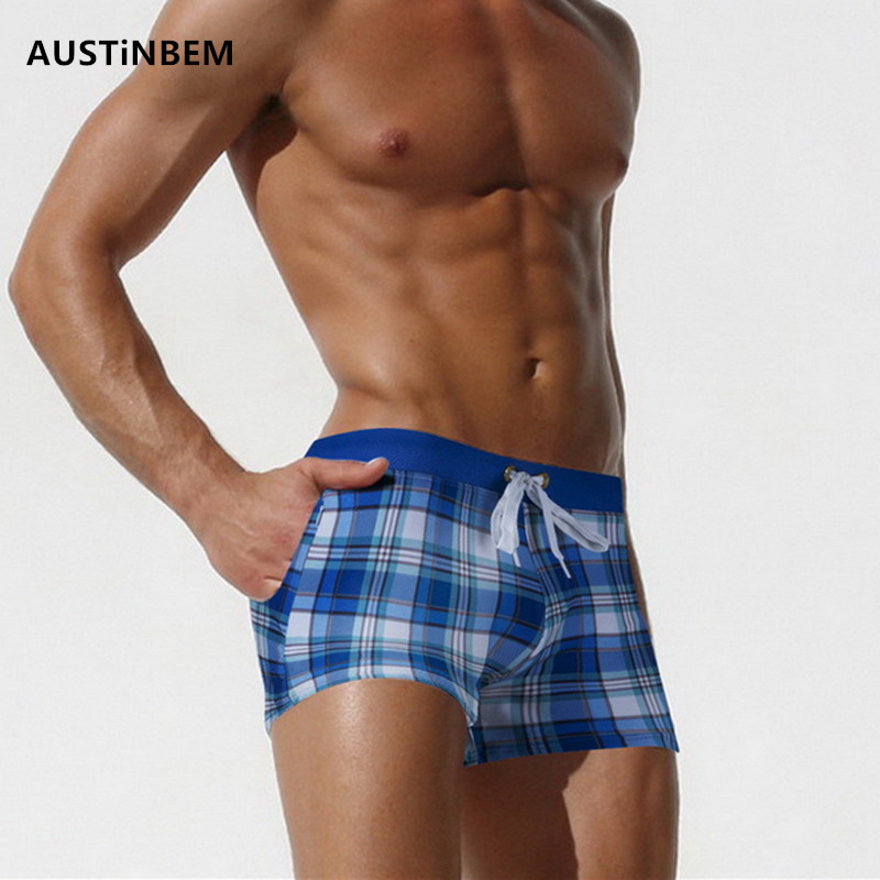AUSTiNBEM Brand Sexy Men Swimwear Шорты ерлер Swimsuits Surf Board Beach Wear Man Swimming Swings Boxer Shorts Swim Suits