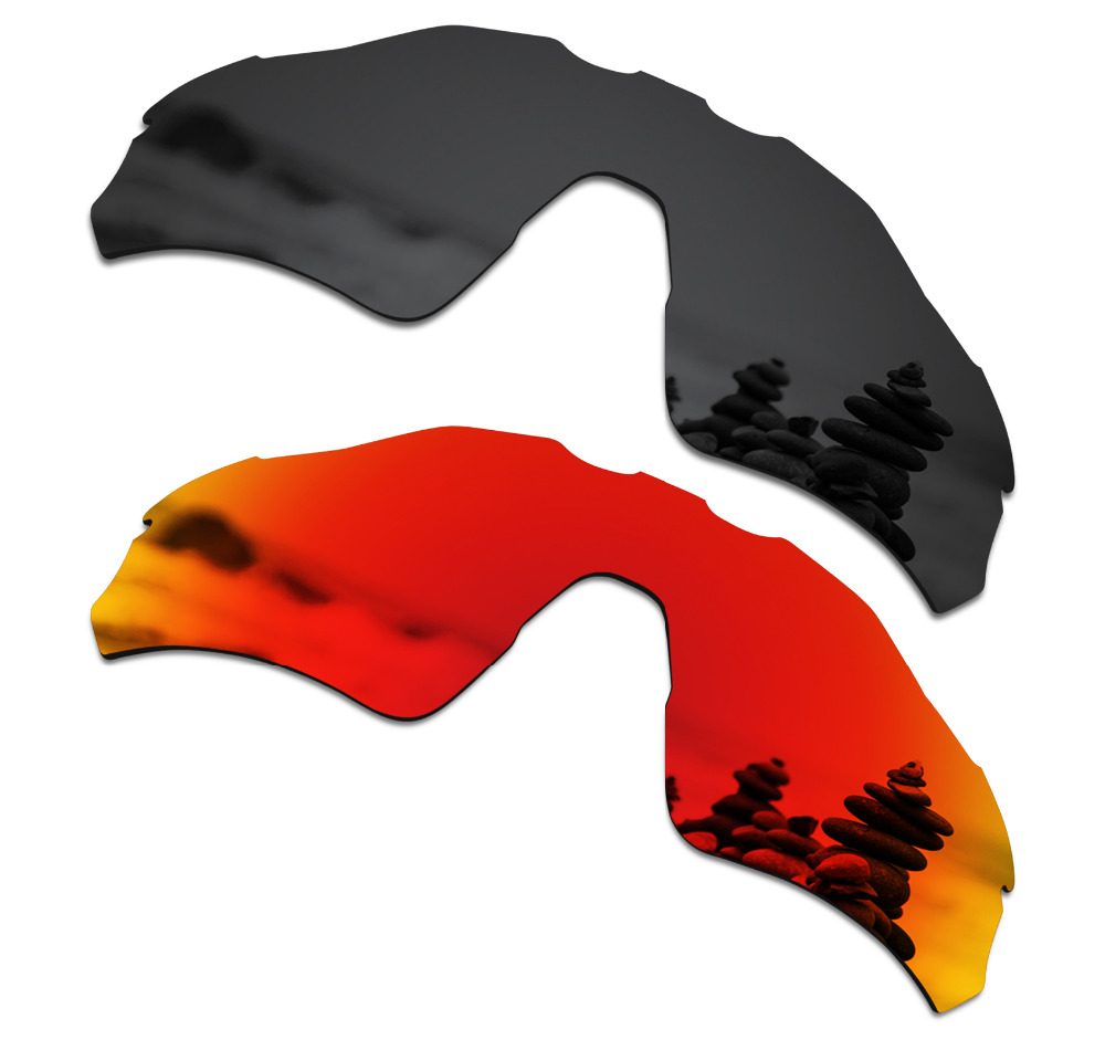 SmartVLT 2 Pieces Polarized Sunglasses Replacement Lenses for Oakley Radar EV Path Stealth Black and Fire Red