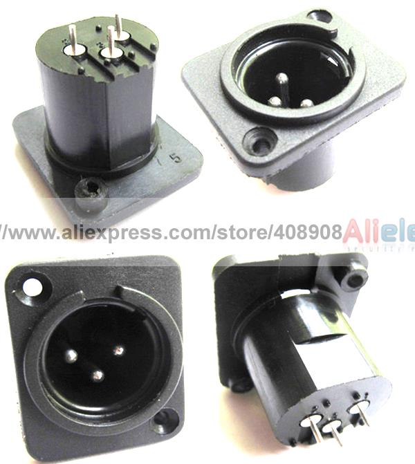 цена на 50pcs 3 Pole XLR Male Plug Panel Chassis Socket for Microphone Guitar Charger
