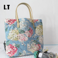 2017 Female Leisure Jute Floral Printing Big Tote Bag Shop Online Top-Handle Cute Fabric Book Beach Summer Candy Color Handbags