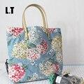 2017 Mujer Ocio Yute Floral Impresión Gran Bolsa de Asas de Compras En Línea de Asa Superior de Tela Lindo Libro Playa Del Caramelo Del Verano Bolsos de Color